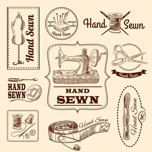 Conjunto de emblemas de costura vector