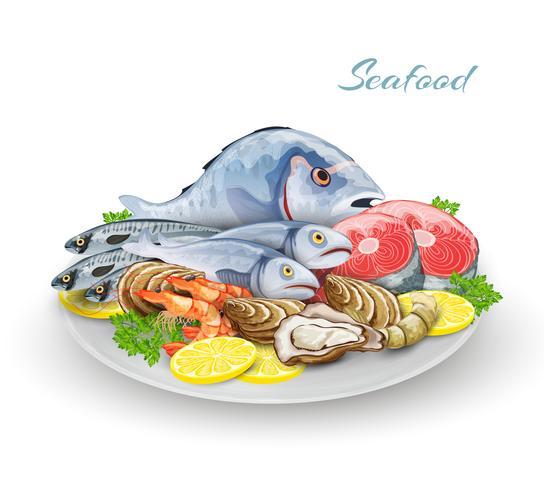 Composição de placa de frutos do mar