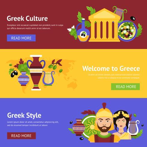 Greece banner set vector