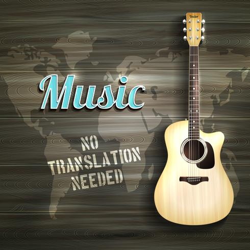 Guitarra de madera de fondo vector