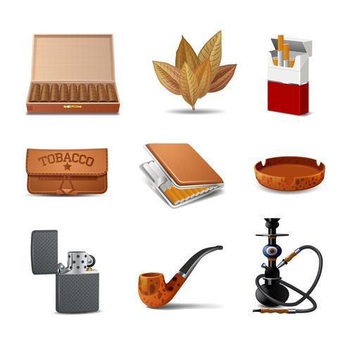 Conjunto de ícones de tabaco vetor