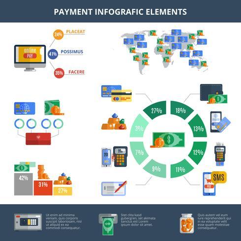 Insieme di infographics di pagamento vettore