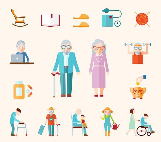 Estilo de vida Senior iconos planos vector