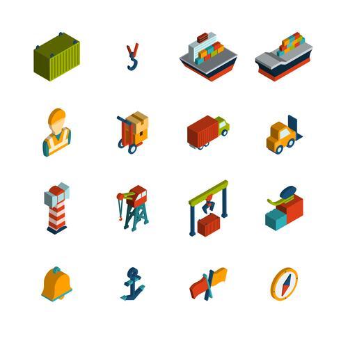 icône de port maritime isométrique