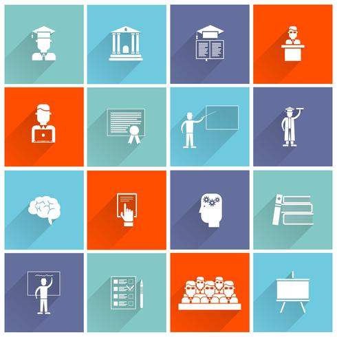 Higher Education Icons Flat vector