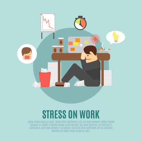 Stress op werk platte pictogram