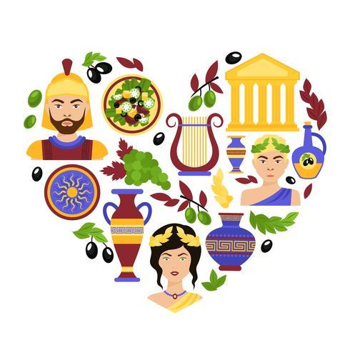 Cuore di simboli della Grecia