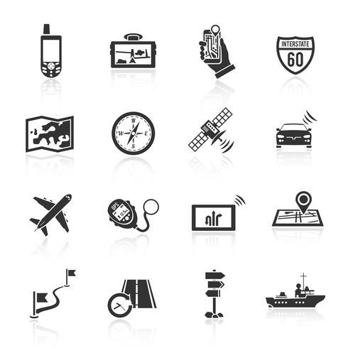 Conjunto de iconos de navegación negro vector