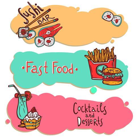 Conjunto de banners de restaurante de comida rápida