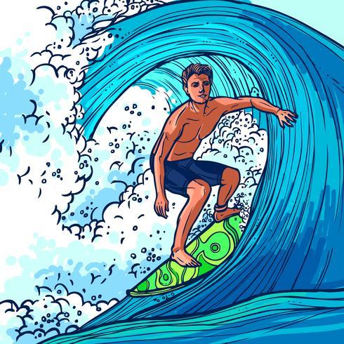 Fondo de hombre surfista vector