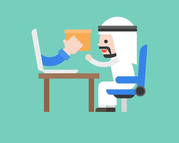 El hombre de negocios árabe lindo acepta el paquete del ordenador portátil, las compras en línea o el comercio electrónico y el concepto de la situación del negocio del envío