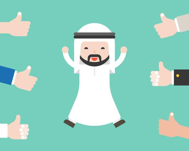 Cute arab business man happy because people thumbs up on him, business situation success concept or positive feedback from social concept