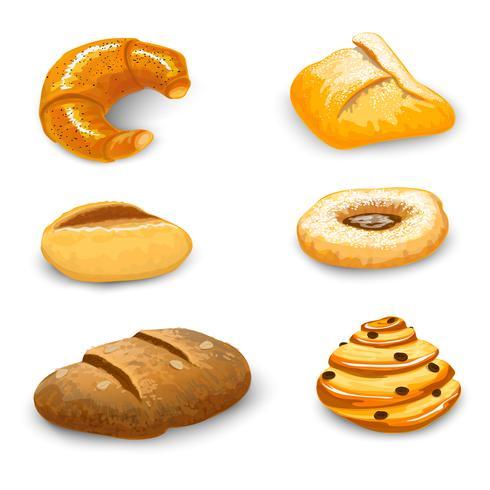 Panadería conjunto aislado vector