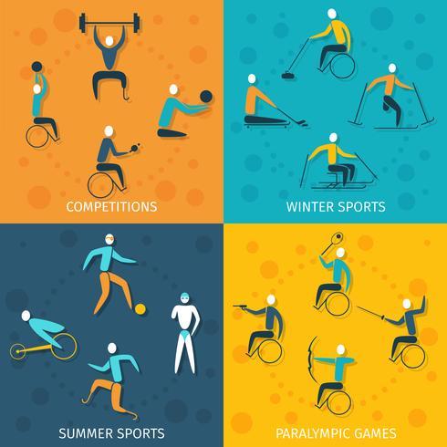 Set de sport handicapé vecteur