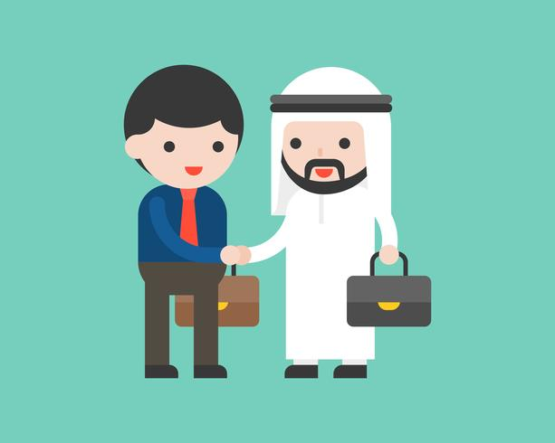 Cute arab business man shake hands with business man, deal or cooperation success situation concept
