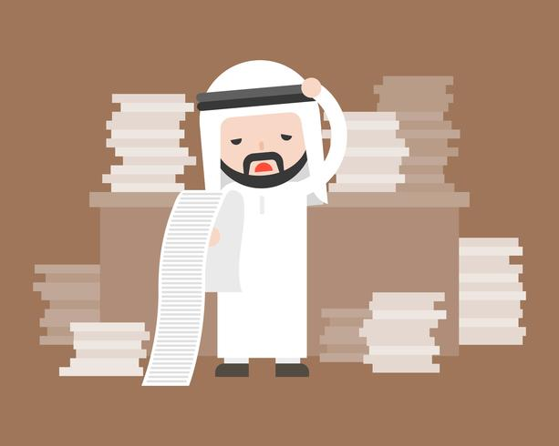 Cute arab business man stress in work place and pile of document , too much workload business situation concept vector