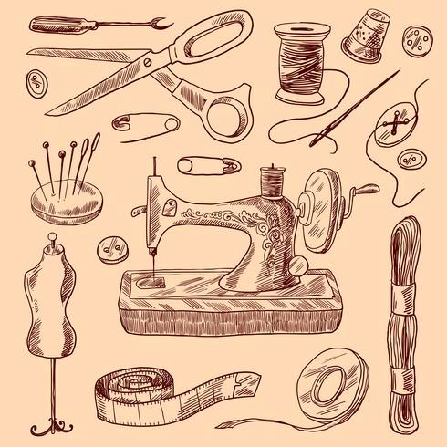 Conjunto de dibujo de iconos de costura