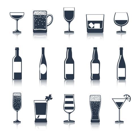 Iconos de bebida negro