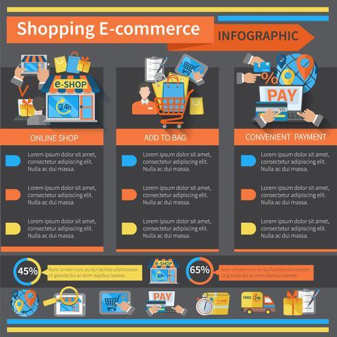 Compras E-commerce Infografía vector