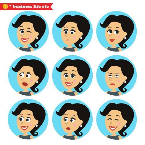 Facial emotions icons set