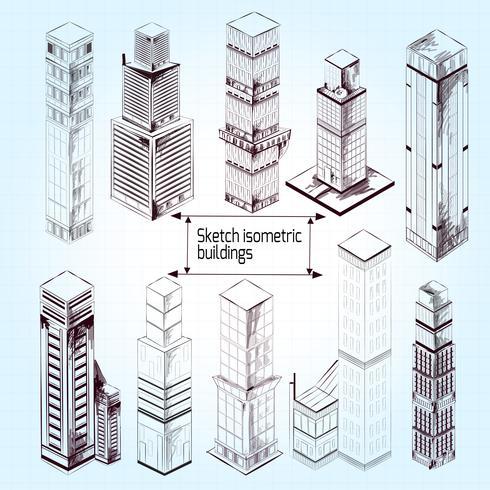 Schizzo di edifici isometrici vettore