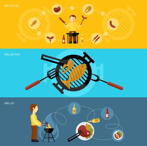 bbq grill banner set