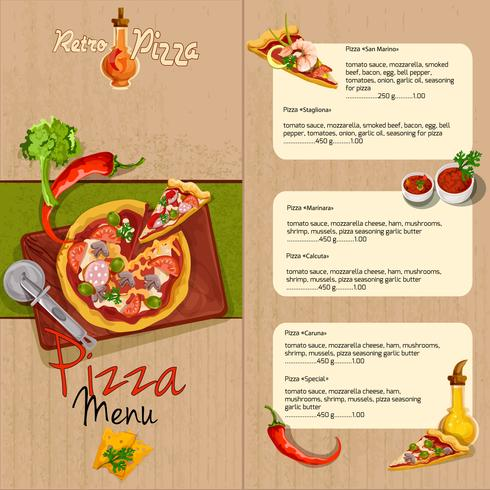 Menu do restaurante da pizza