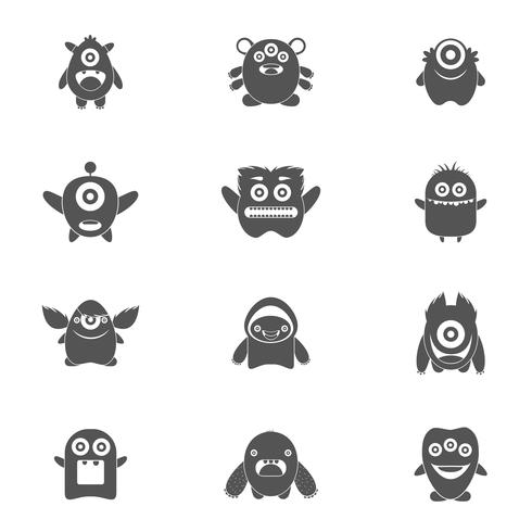 Monsters Set Black vector
