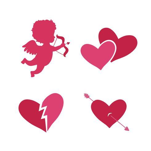 Conjunto de iconos de Cupido vector