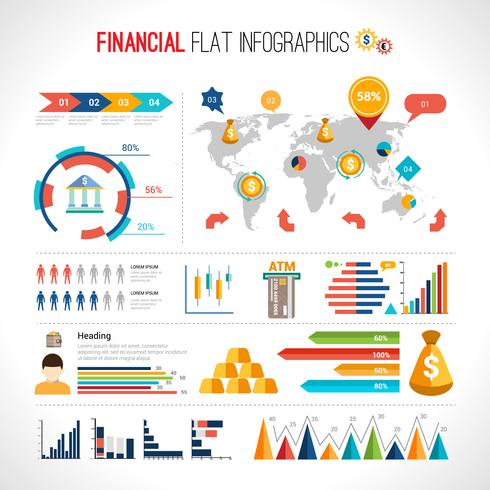 Finance plat infographique vecteur