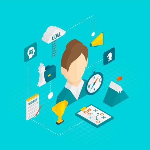 Coaching empresarial icono isométrico