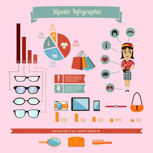 Hipster infographicselementen die met geekmeisje worden geplaatst