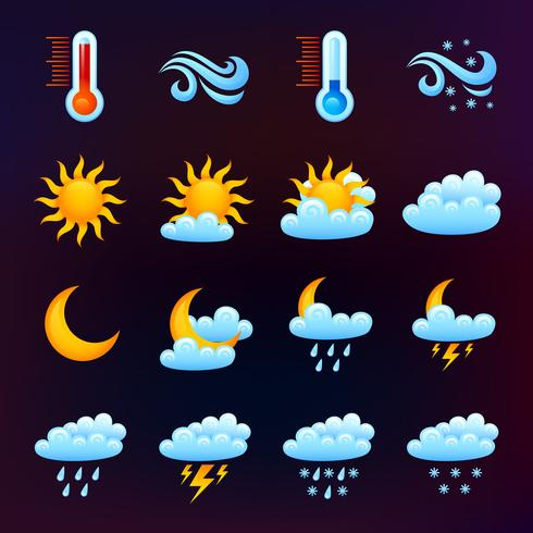 Météo Icon Set Black