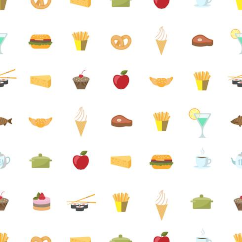 Food pattern seamless background vector