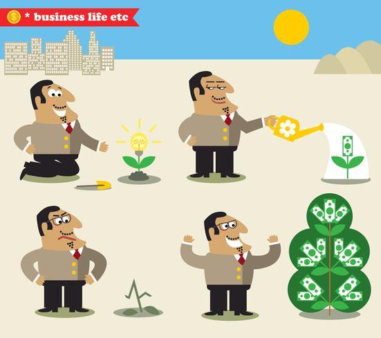 Boss che innaffia l'albero dall'idea al profitto