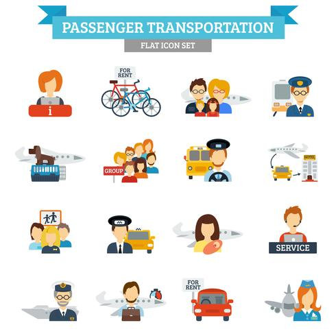 Passagerartransport Icon Flat vektor