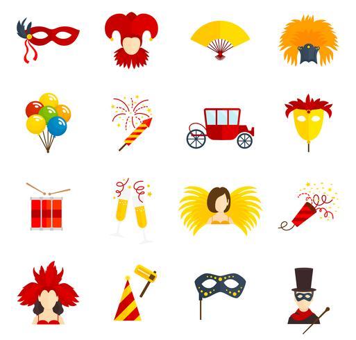 Icônes de carnaval mis à plat vecteur