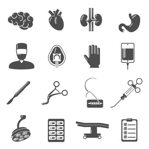 Chirurgie-Icons schwarz vektor