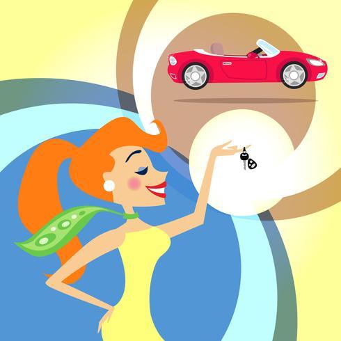 vrouw met autosleutels