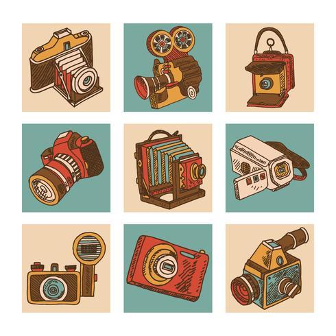 Jeu d'icônes de caméra vecteur