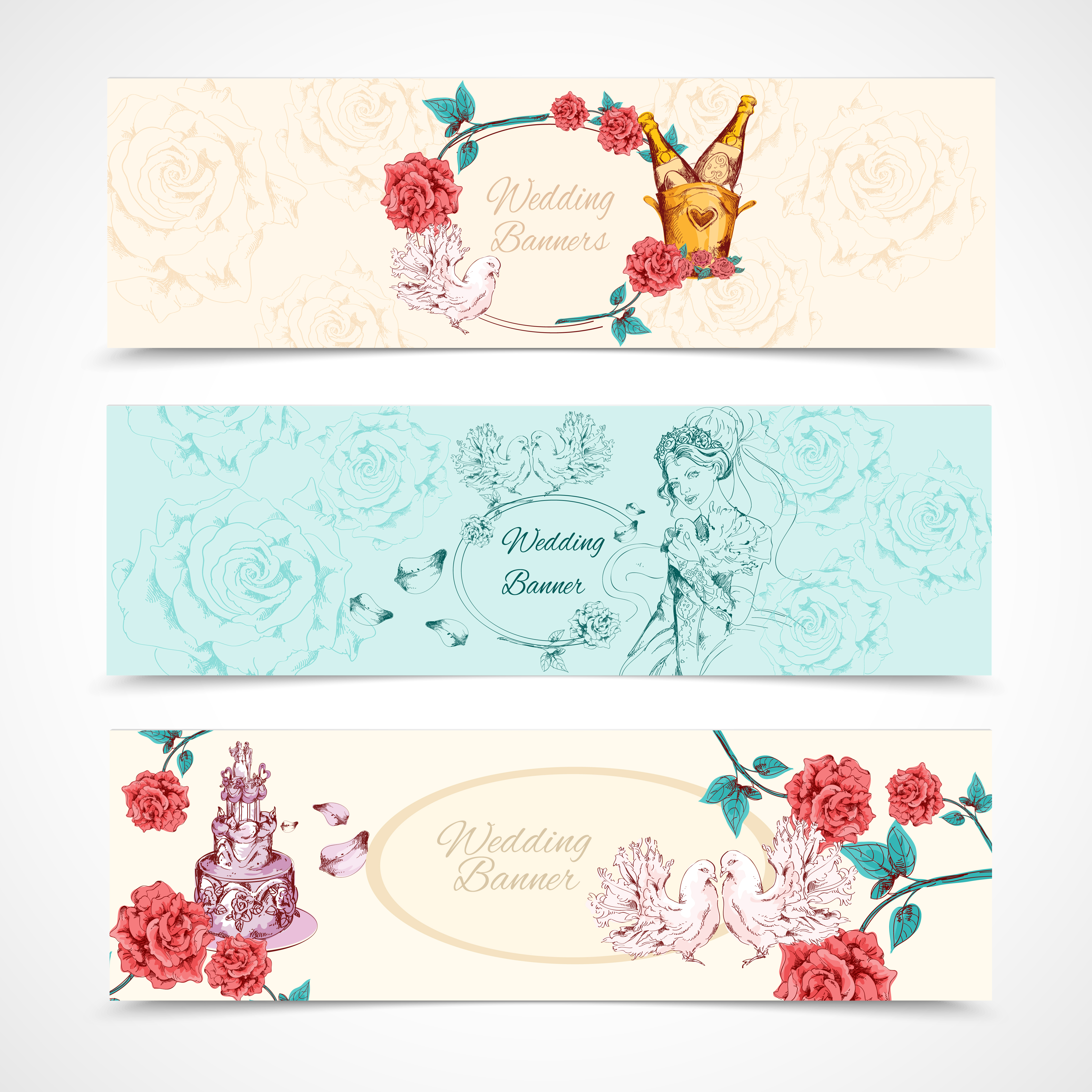 Wedding Banners Set - Download Free Vectors, Clipart ...