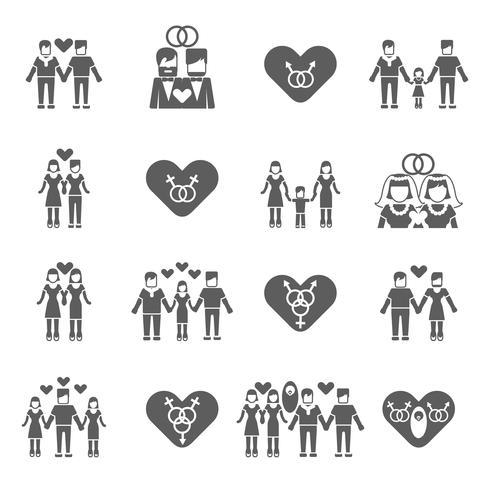 Iconos familiares no tradicionales establecidos en negro vector