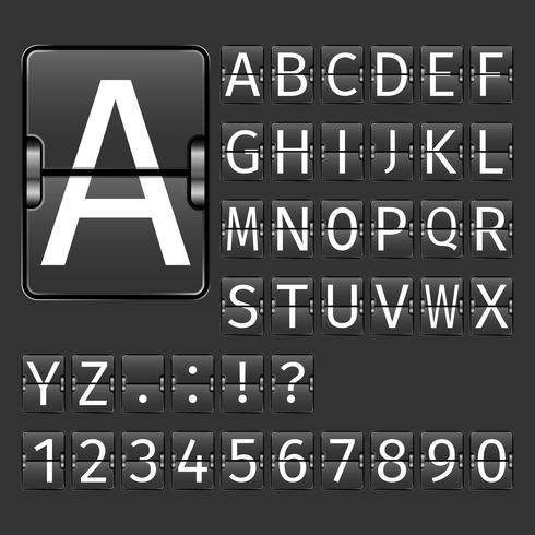 luchthaven bord alfabet
