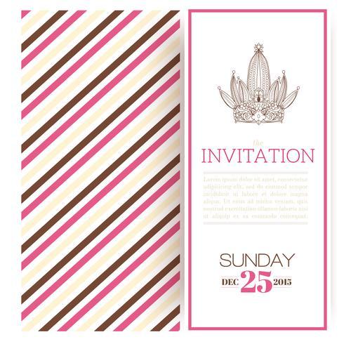 Plantilla de invitación de princesa de rayas