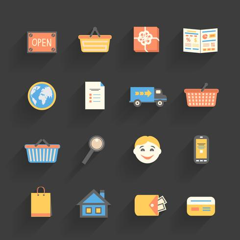 Cartoon icons set for online store vector