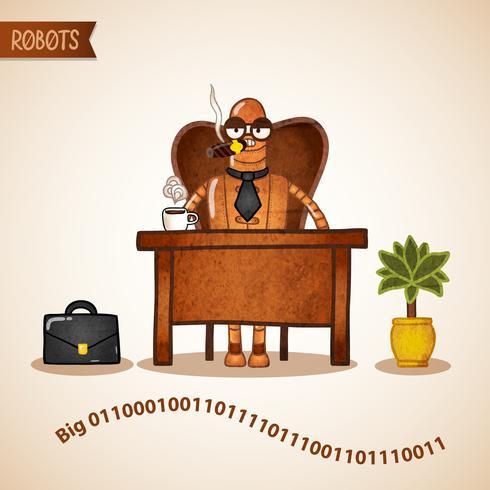 Big Boss mit Kaffee am Schreibtisch sitzen