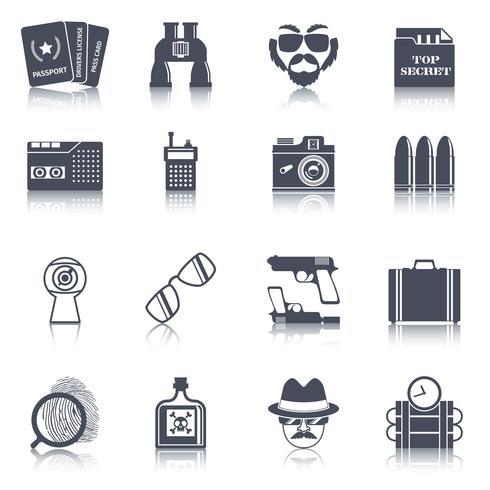 Ensemble d'icônes noir gadgets espion