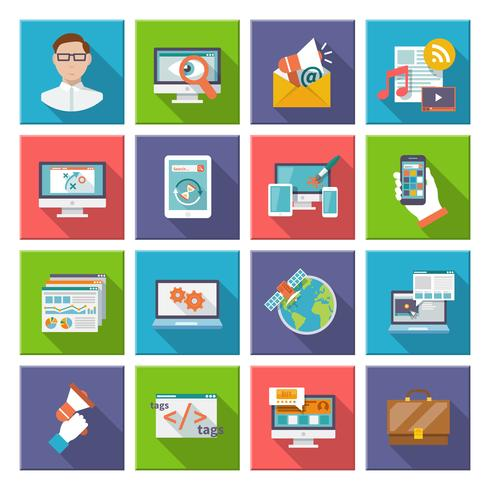 SEO Internet Marketing platte pictogram