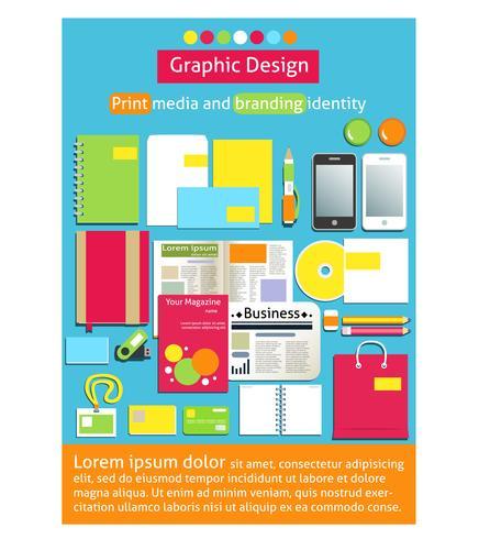Grafisk design, tryckmedia och brandingidentitet vektor