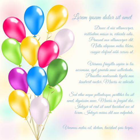 Colorful balloons invitation card
